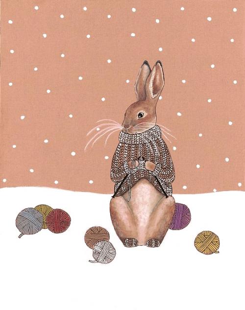 Zajček si plete pulover